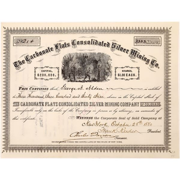 Carbonate Flats Silver Mine Stock Certificate  [128106]