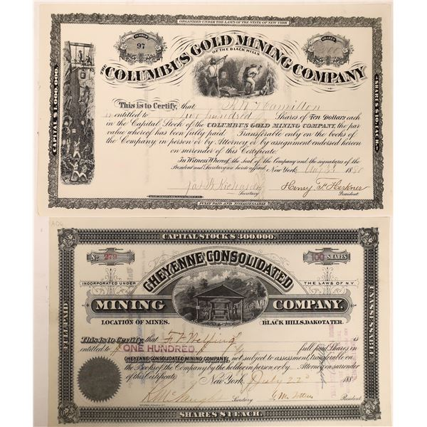 Two Dakota Territory Mine Stock Certificates (2)  [129699]