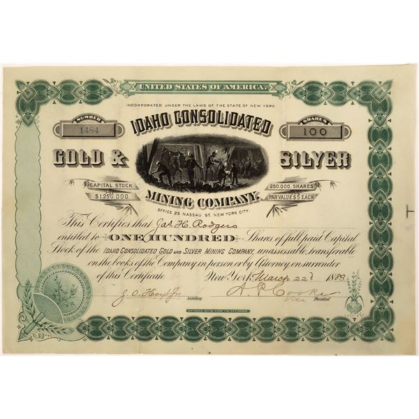 Idaho Consolidated Mining Co. Stock Certificate  [128118]