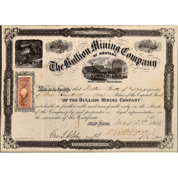 Bullion Mining Company of Montana Stock, 1866  [130538]