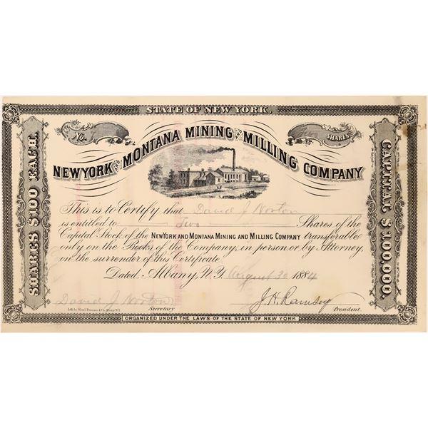 Rare New York & Montana Mining Co. Stock Certificate  [129690]