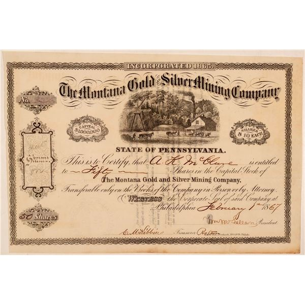 Montana Gold & Silver Mining Company Stock Certificate  [107734]