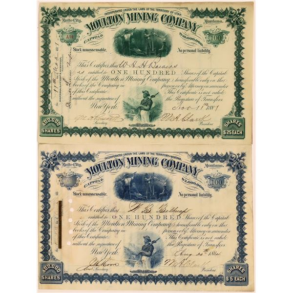 Moulton Mining Company – Pair of Stocks, 1881, 1884 – Signed by Clark  [130560]