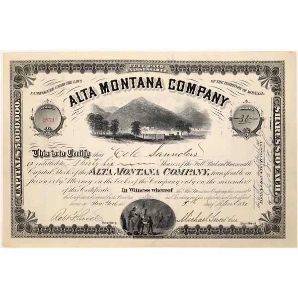 Alta Montana Company Stock Certificate  [128116]