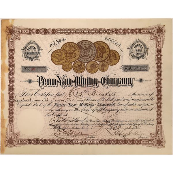 Penn-Yan Mining Stock Certificate  [129692]