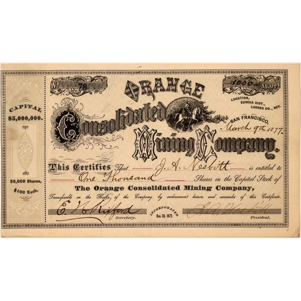 Orange Consolidated Mining Company Stock Certificate  [107741]