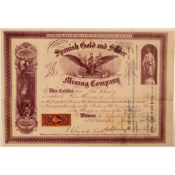 Spanish Gold & Silver Mining Company Stock Certificate  [107735]