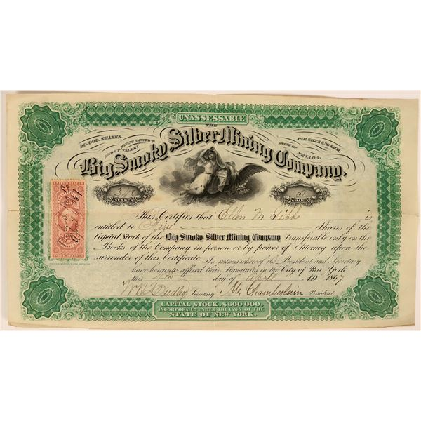 Big Smoky Silver Mining Company - early 1860's Reese River stock certificate  [119404]