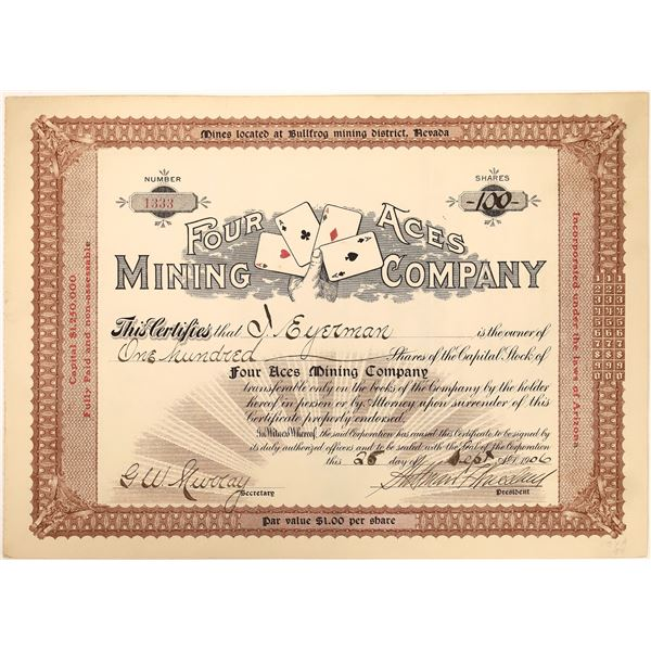 Four Aces Mining Co. Stock Certificate RARE  [129709]