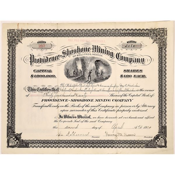 Providence-Shoshone Mining Stock Certificate  [129710]