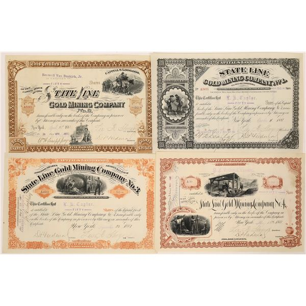 State Line Gold Mine Stock Certificates (4)  [129711]