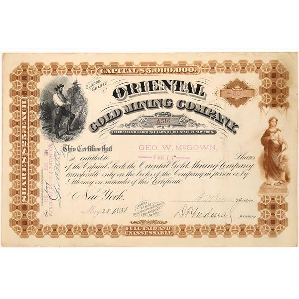 Oriental Gold Mining Co. Stock Certificate  [129706]