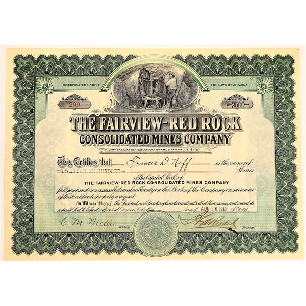 Fairview-Red Rock Consolidated Mines Company Stock, 1910  [130559]
