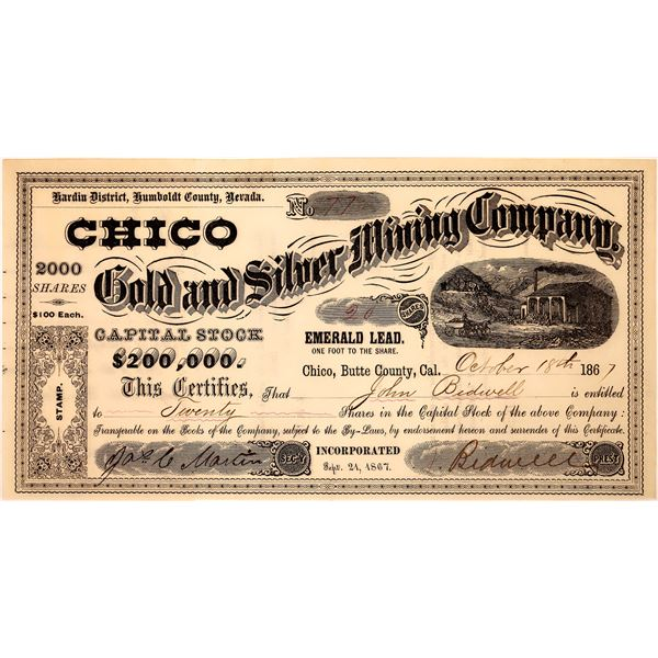 Chico Gold & Silver Mine Stock Certificate Issued to & Signed by Bidwell  [129695]