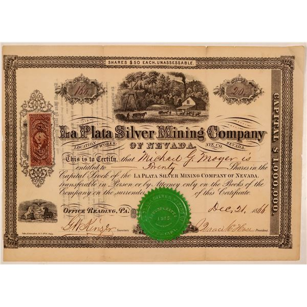 La Plata Silver Mining Company of Nevada Stock Certificate  [107729]