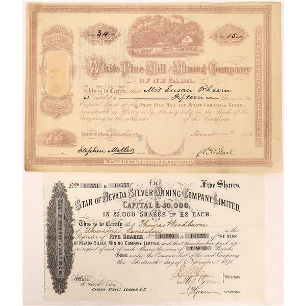 White Pine County Mine Stock Certificates (2)  [129704]