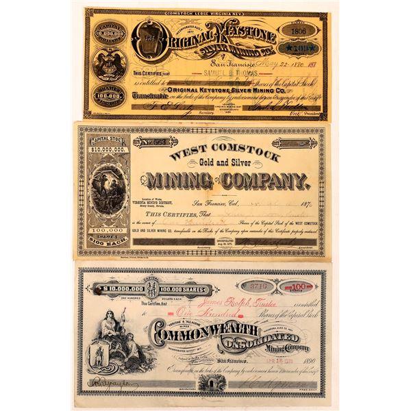 Trio of Comstock Mining Stock Certificates  [129696]
