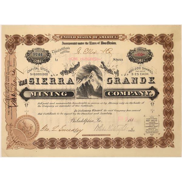 Sierra Grande Mine Stock Certificate  [129701]