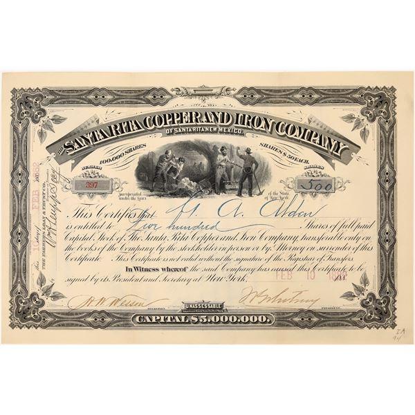 Santa Rita Copper & Iron Co. Stock Certificate  [129702]