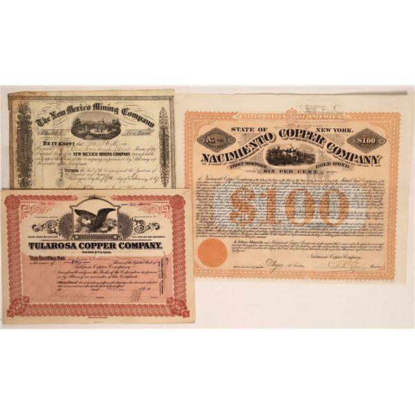 New Mexico Mining Stocks and Bonds (3)  [128832]