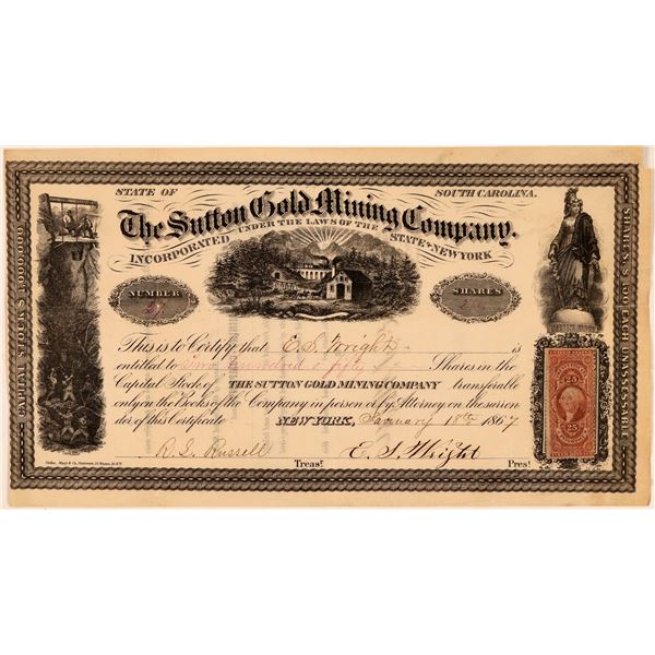 Sutton Gold Mining Company Stock Certificate  [107792]