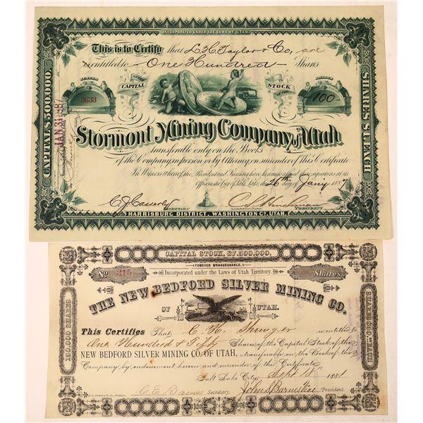 New Bedford & Stormont Mine Stock Certificates (2)  [129697]