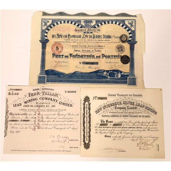 Three Silver-Lead-Zinc Mining Stock Certificates from around the World  [130454]