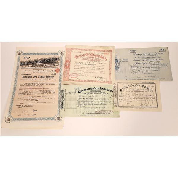 Five Australian Mining Stock Certificates  [130452]