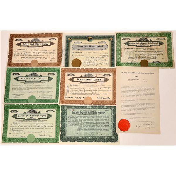 Bridge River, British Columbia Stock Certificate Group  [130477]