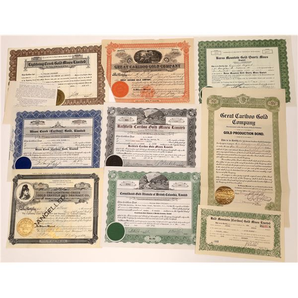 Great Cariboo Mining Stock Collection  [130473]