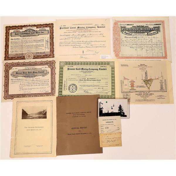 Portland, British Columbia Area Mining Stock Certificate and Ephemera Collection  [130487]