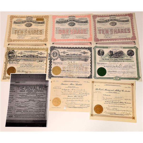 Rossland, British Columbia Mining Stock Certificates – Group 1  [130467]
