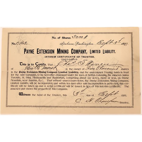 Payne Extension Mining Certificate with Great Map on Reverse  [130465]