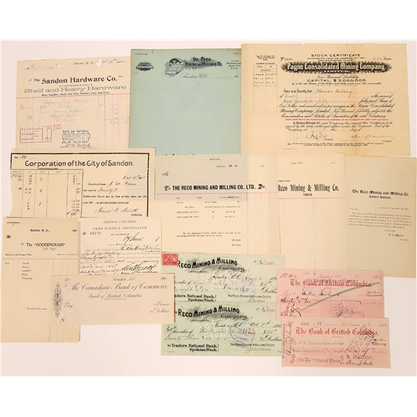 Sandan Stock Certificate and Ephemera Collection  [130470]