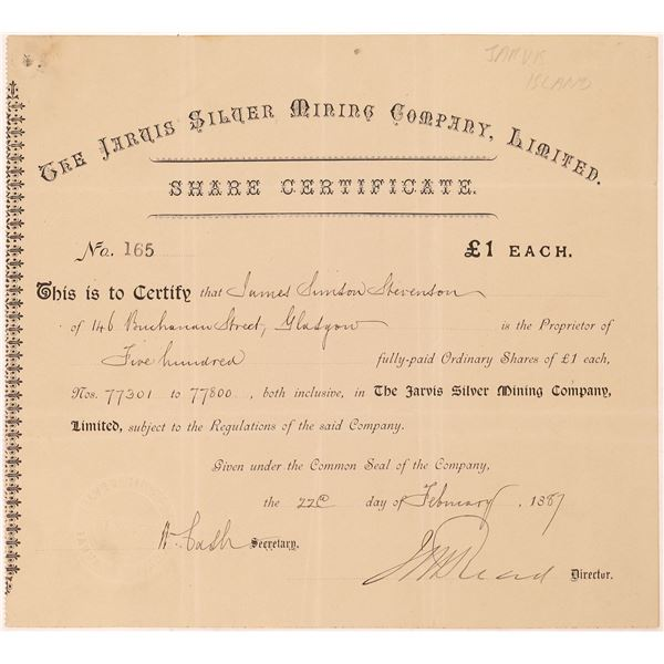 Jarvis Silver Mining Company, Limited Stock Certificate  [130449]