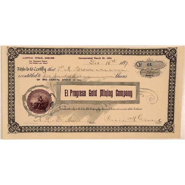 El Progreso Gold Mining Company Stock Certificate  [107731]