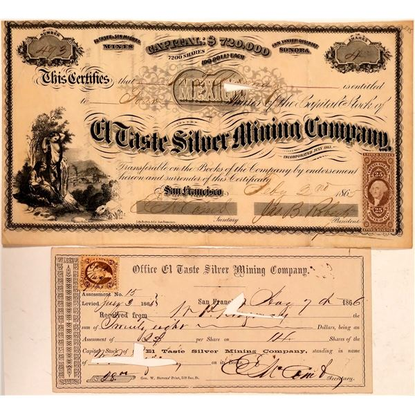 El Taste Silver Mining Company Stock Certificate  [107794]