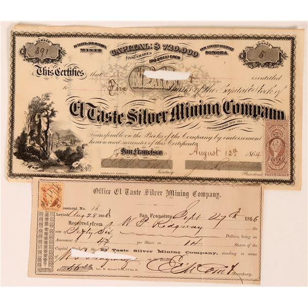 El Taste Silver Mining Co Stock, Sonora, Mexico, 1864  [118590]