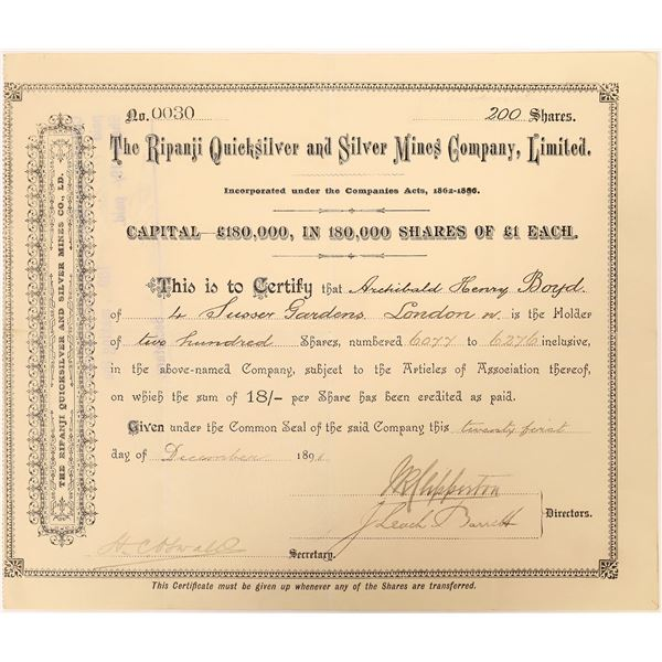 Ripanji Quicksilver and Silver Mines Company, limited Stock Certificate  [130451]