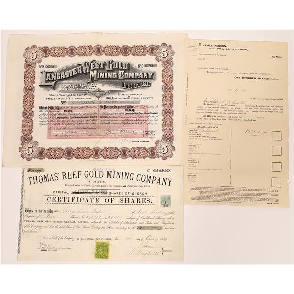 Transvaal Mining Stock Certificates - 3  [130460]