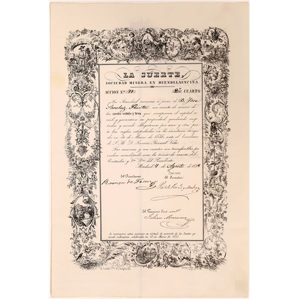 La Suerte Mining Stock Certificate  [130453]