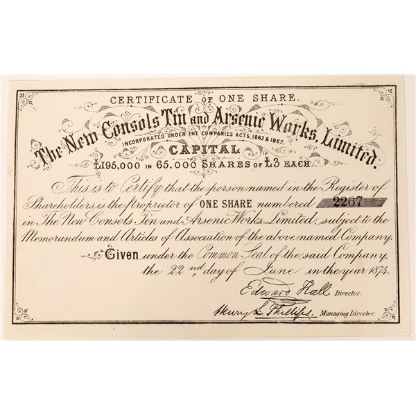 New Consols Tin and Arsenic Works Certificate, Cornwell  [130494]