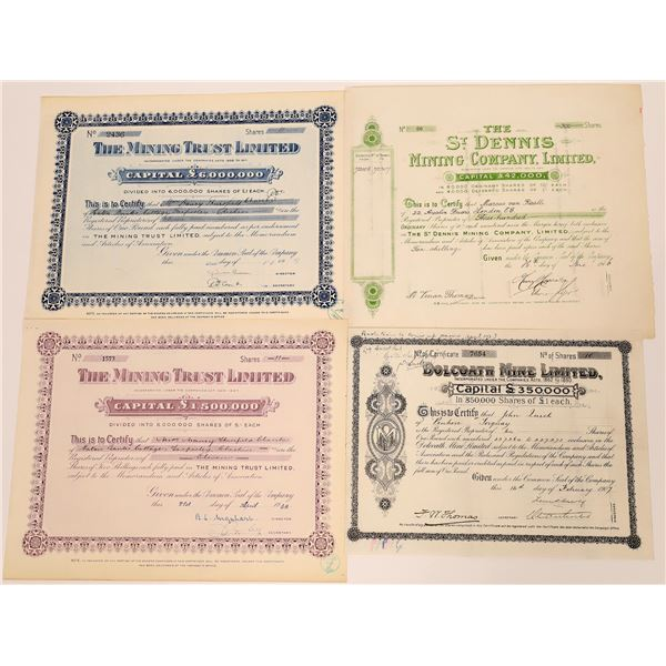 United Kingdom Mining Stock Certificates - 5  [130457]