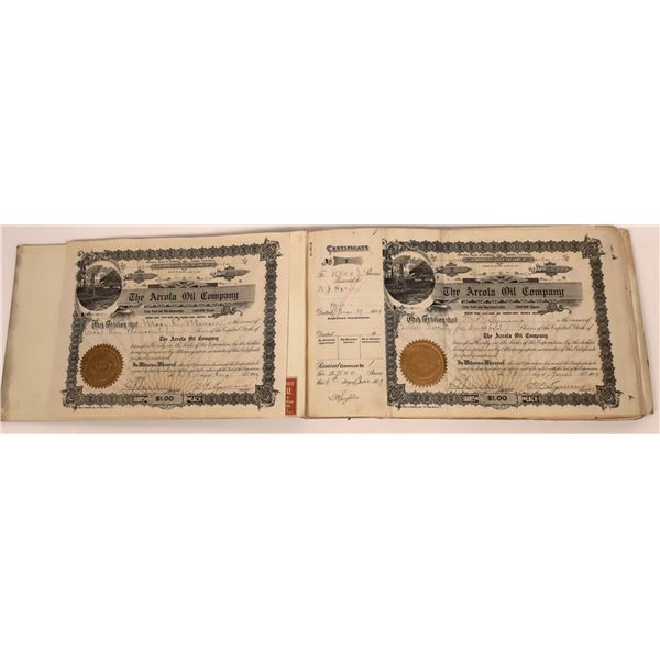 Arcola Oil Co. Stock Book, full, issued and cancelled, 1909  [141133]