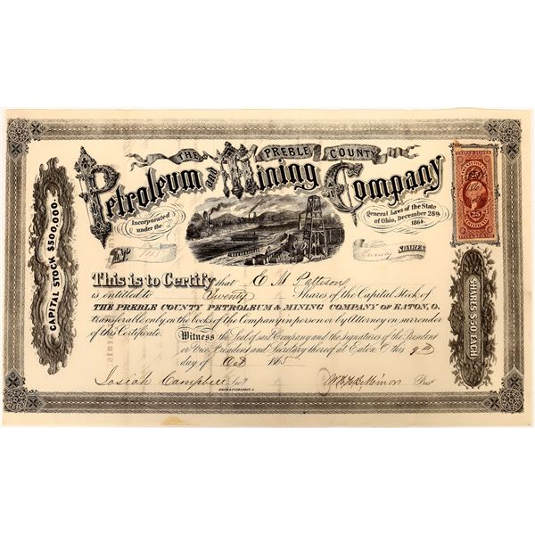 Preble County Petroleum and Mining Company Stock, 1865  [130537]