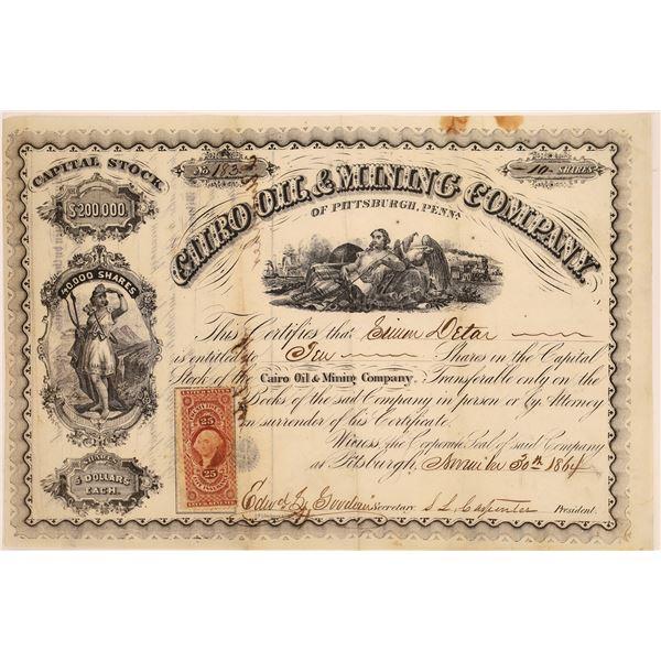 Cairo Oil & Mining Company of Pittsburgh, Penn Stock, 1864  [130525]