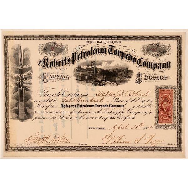 Roberts Petroleum Torpedo Company Stock Certificate  [107780]