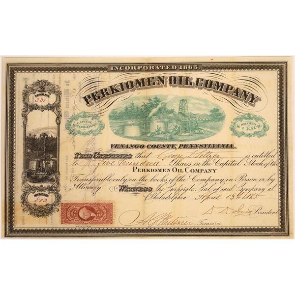 Perkiomen Oil Company, Venango County, Pennsylvania Stock, 1865  [130532]