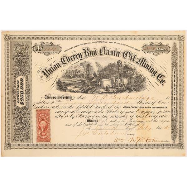 Union Cherry Run Basin Oil Mining Company Stock, 1865  [130533]