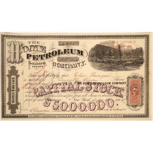 Home Petroleum Company Stock, 1865  [130535]
